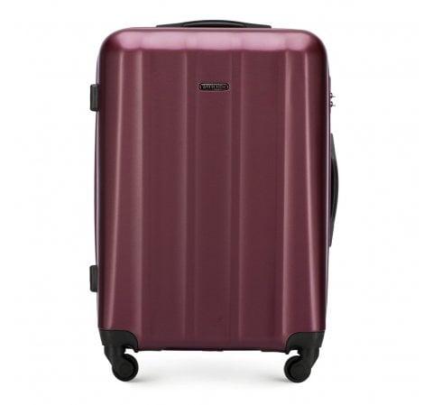 Średnia walizka z polikarbonu fakturowana, bordowy, 56-3P-112-90, Zdjęcie 1