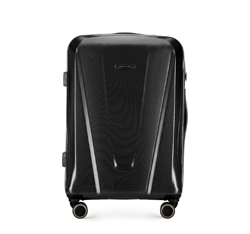 Średnia walizka z polikarbonu geometryczna, czarny, 56-3P-122-10, Zdjęcie 1