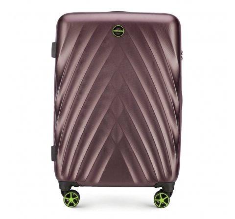 Średnia walizka z polikarbonu w ukośny wzór, fioletowy, 56-3P-802-91, Zdjęcie 1