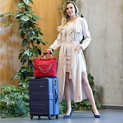 Średnia walizka z ABS-u tłoczona, granatowy, 56-3A-632-90, Zdjęcie 1