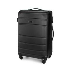 Średnia walizka z ABS-u żłobiona, czarny, 56-3A-652-10, Zdjęcie 1