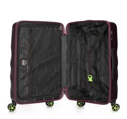 Średnia walizka z polikarbonu w ukośny wzór, fioletowy, 56-3P-802-44, Zdjęcie 1