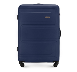 Duża walizka z ABS-u tłoczona, granatowy, 56-3A-633-90, Zdjęcie 1