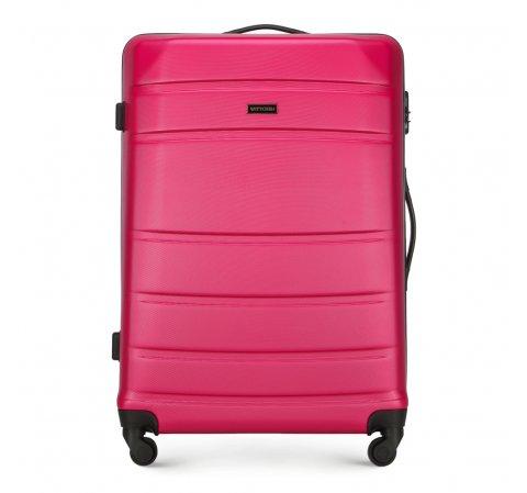 Duża walizka z ABS-u żłobiona, różowy, 56-3A-653-35, Zdjęcie 1