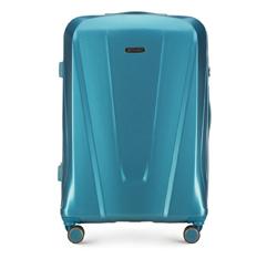 Duża walizka z polikarbonu geometryczna, niebieski, 56-3P-123-95, Zdjęcie 1