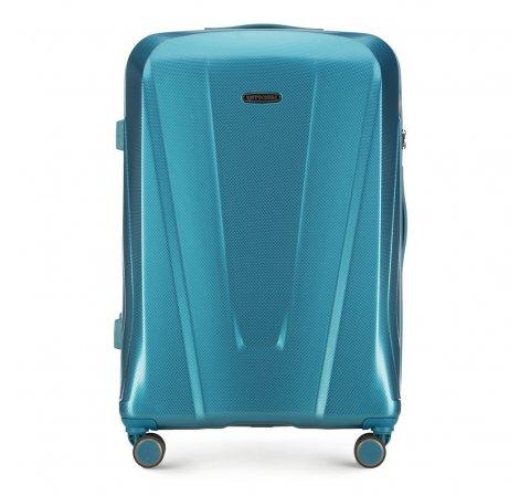 Duża walizka z polikarbonu geometryczna, niebieski, 56-3P-123-10, Zdjęcie 1