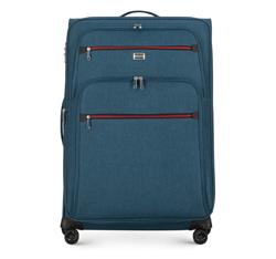 Duża walizka z kolorowym suwakiem, morski, 56-3S-503-91, Zdjęcie 1