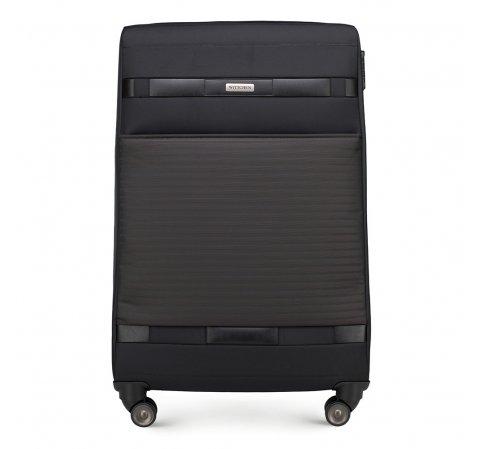 Duża miękka walizka klasyczna, czarny, 56-3S-553-10, Zdjęcie 1