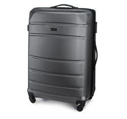 Duża walizka z ABS-u żłobiona, szary, 56-3A-653-01, Zdjęcie 1