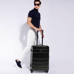 Duża walizka z ABS-u żłobiona, czarny, 56-3A-653-10, Zdjęcie 1
