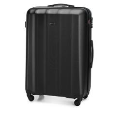 Duża walizka z polikarbonu fakturowana, czarny, 56-3P-113-10, Zdjęcie 1