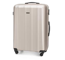Duża walizka z polikarbonu fakturowana, szampański, 56-3P-113-86, Zdjęcie 1