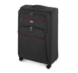 Duża walizka z kolorowym suwakiem, grafitowy, 56-3S-503-12, Zdjęcie 1