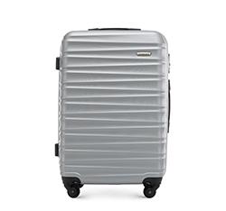 Średnia walizka z ABS-u z żebrowaniem, szary, 56-3A-312-01, Zdjęcie 1