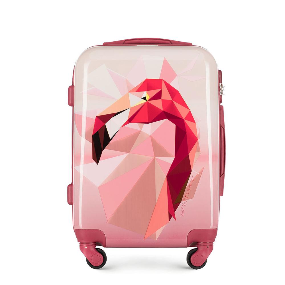 Średnia walizka z ABS-u z nadrukiem, różowy, 56-3A-642-34, Zdjęcie 1