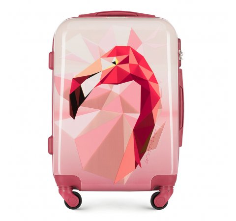 Średnia walizka z ABS-u z nadrukiem, różowy, 56-3A-642-50, Zdjęcie 1