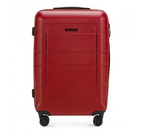 Średnia walizka z geometrycznymi żłobieniami, czerwony, 56-3H-542-9R, Zdjęcie 1