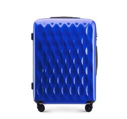 Średnia walizka z ABS-u karbowana, niebieski, 56-3H-552-90, Zdjęcie 1