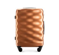 Średnia walizka z polimeru falowana, miedziany, 56-3H-562-60, Zdjęcie 1