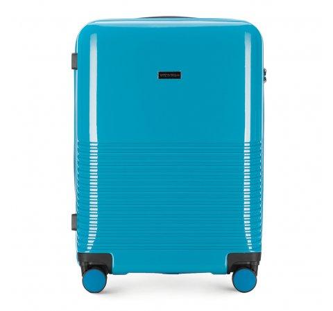 Średnia walizka z ABS-u gęsto tłoczona, niebieski, 56-3H-572-24, Zdjęcie 1