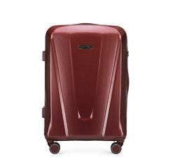 Średnia walizka z polikarbonu geometryczna, bordowy, 56-3P-122-35, Zdjęcie 1