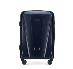 Średnia walizka z polikarbonu geometryczna, granatowy, 56-3P-122-90, Zdjęcie 1