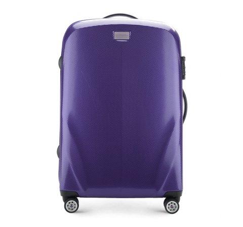 Średnia walizka z polikarbonu jednokolorowa, fioletowy, 56-3P-572-70, Zdjęcie 1