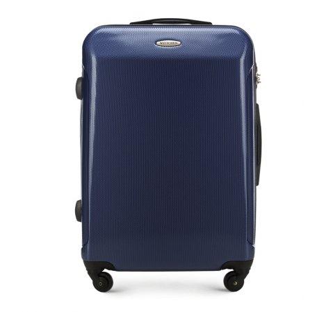 Średnia walizka z polikarbonu prosta, granatowy, 56-3P-972-10, Zdjęcie 1