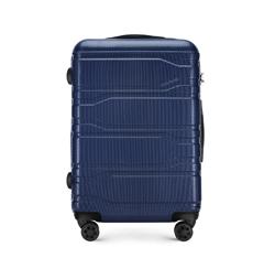 Średnia walizka z polikarbonu tłoczona, granatowy, 56-3P-982-91, Zdjęcie 1