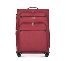 Średnia miękka walizka z czerwonym suwakiem, bordowy, 56-3S-502-30, Zdjęcie 1