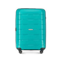 Średnia walizka z polipropylenu żłobiona, turkusowy, 56-3T-722-85, Zdjęcie 1