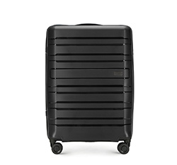 Średnia walizka z polipropylenu w poziome linie, czarny, 56-3T-752-10, Zdjęcie 1