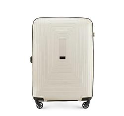 Średnia walizka z polipropylenu w geometryczny deseń, jasny beż, 56-3T-782-00, Zdjęcie 1