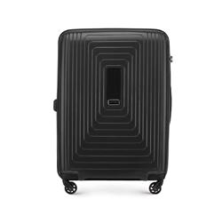 Średnia walizka z polipropylenu w geometryczny deseń, czarny, 56-3T-782-10, Zdjęcie 1