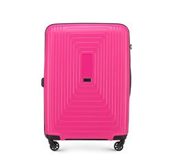 Średnia walizka z polipropylenu w geometryczny deseń, fuksja, 56-3T-782-60, Zdjęcie 1