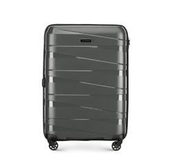 Średnia walizka z polipropylenu z geometrycznymi tłoczeniami, szary, 56-3T-792-00, Zdjęcie 1