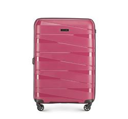 Średnia walizka z polipropylenu z geometrycznymi tłoczeniami, zgaszony róż, 56-3T-792-35, Zdjęcie 1