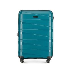 Średnia walizka z polipropylenu z geometrycznymi tłoczeniami, morski, 56-3T-792-85, Zdjęcie 1
