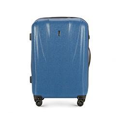 Średnia walizka z polikarbonu z fakturą, niebieski, 56-3P-962-90, Zdjęcie 1