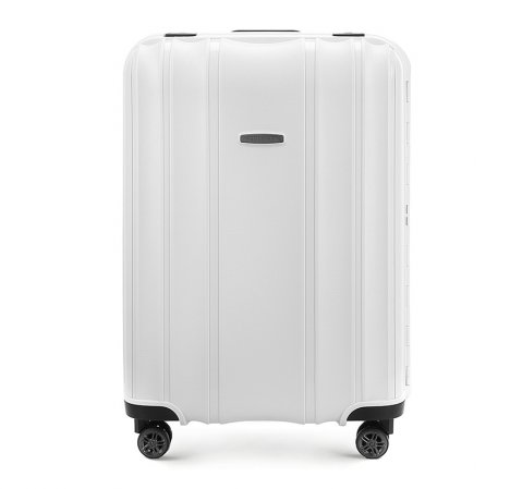 Średnia walizka z polipropylenu tłoczona, biały, 56-3T-732-88, Zdjęcie 1