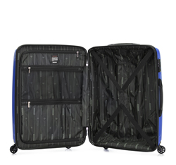 Średnia walizka z polipropylenu w geometryczny deseń, niebieski, 56-3T-782-90, Zdjęcie 1