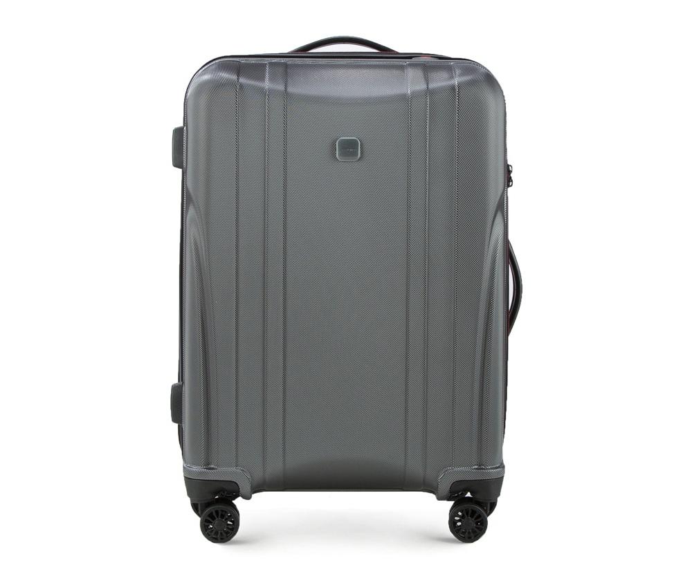Чемодан на колёсиках 23\\ Wittchen 56-3P-912-00, графитСредний чемодан из коллекции Power PC, сделан из ударопрочного поликарбоната. Чемодан имеет 4 двойных колесика, выдвижную алюминиевую ручку две   резиновые ручки: сверху и сбоку. Современный и оригинальный дизайн чемодана,  подчеркивает красная нить, вплетенная в молнию. Чемодан имеет двойную  молнию, функцию  \\\AntiTheft\\\, благодаря которой чемодан устойчив к  нежелательному открытию острым предметом, кодовый замок с функцией TSA.  Внутри:        два отделения для одежды, один отдел фиксируется ремнями на застежку и второй закрывается на молнию;      2 сетчатых кармана на молнии.<br><br>секс: унисекс<br>Цвет: серый<br>материал:: Поликарбонат<br>высота (см):: 65<br>ширина (см):: 43<br>глубина (см):: 26<br>вес (кг):: 2.9<br>объем (л):: 58
