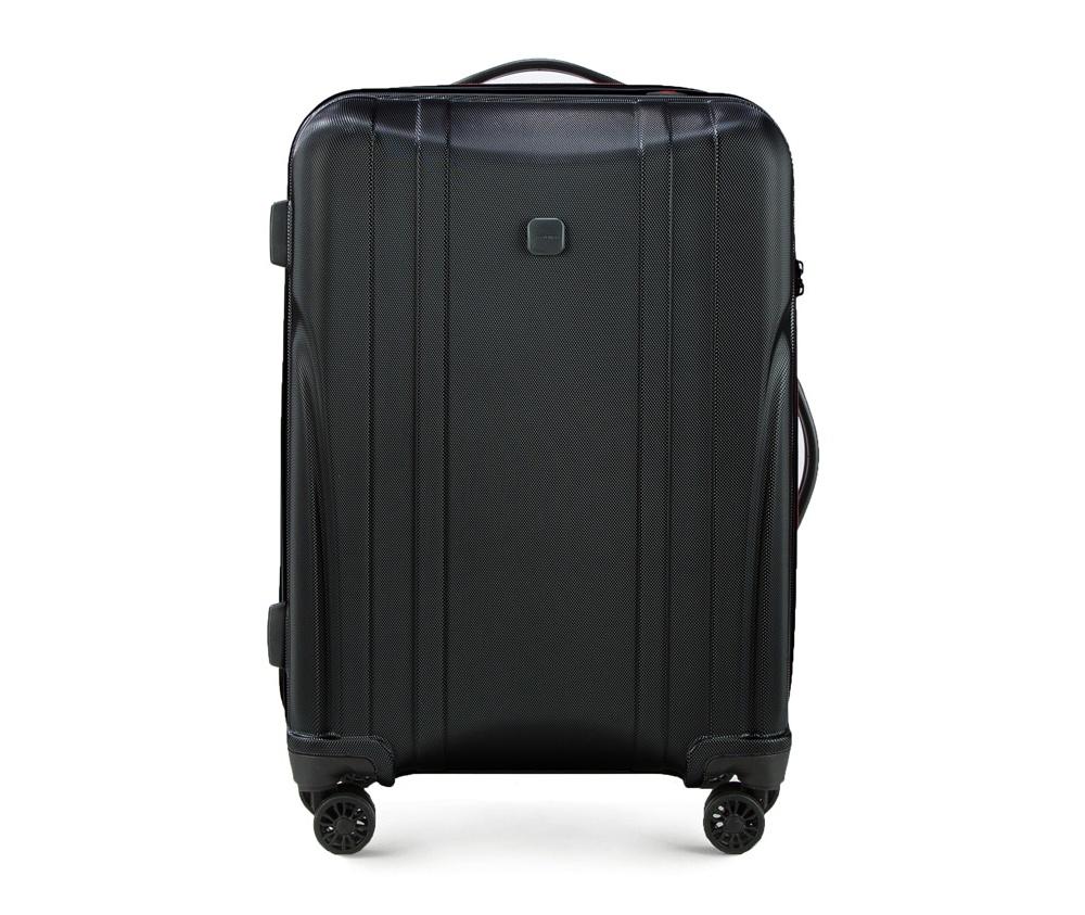 Чемодан на колёсиках 23\\Средний чемодан из коллекции Power PC, сделан из ударопрочного поликарбоната. Чемодан имеет 4 двойных колесика, выдвижную алюминиевую ручку две    резиновые ручки: сверху и сбоку. Современный и оригинальный дизайн  чемодана,  подчеркивает красная нить, вплетенная в молнию. Чемодан имеет  двойную  молнию, функцию \AntiTheft\, благодаря которой чемодан  устойчив к  нежелательному открытию острым предметом, кодовый замок с  функцией TSA.&#13;<br>Внутри:&#13;<br>&#13;<br>    два отделения для одежды, один отдел фиксируется ремнями на застежку и второй закрывается на молнию;&#13;<br>    2 сетчатых кармана на молнии.<br><br>секс: унисекс<br>Цвет: черный<br>материал:: Поликарбонат<br>высота (см):: 65<br>ширина (см):: 43<br>глубина (см):: 26<br>вес (кг):: 2.9<br>объем (л):: 58