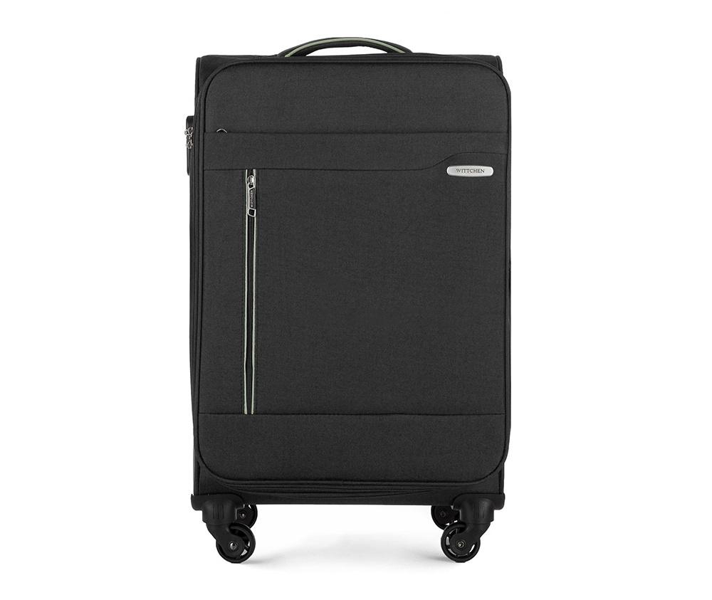 Чемодан на колёсикахСредний чемодан из коллекции Stripe Line изготовлен из полиэстера. Оснащен четырьмя прочными колесиками, телескопической и дополнительно ручками, которые позволяют легко перемещать багаж. Дополнительно снаружи внешние карманы. Защита в виде кодового замка, который препятствует доступу внутрь чемодана. Внутри:основное отделение на молнии с регулируемыми ремнями, предохраняющими одежду от перемещения; карман - сетка на молнии. Снаружи: с лицевой стороны 2 кармана закрываются на молнию; дополнительно молния, позволяющая увеличить объем чемодана на 5 см.<br><br>секс: унисекс<br>Цвет: черный<br>материал:: Полиэстер<br>высота (см):: 69<br>ширина (см):: 41<br>глубина (см):: 25<br>размер:: средний<br>вес (кг):: 2,9<br>объем (л):: 58