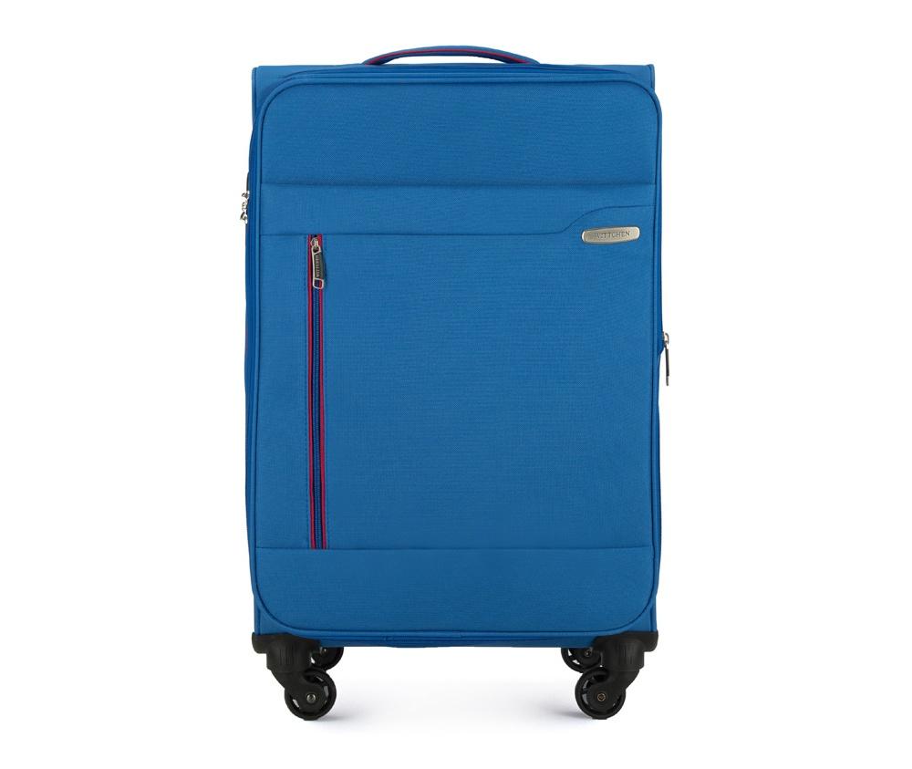 Чемодан на колёсикахСредний чемодан из коллекции Stripe Line изготовлен из полиэстера. Оснащен четырьмя прочными колесиками, телескопической и дополнительной ручками, которые позволяют легко перемещать багаж. Дополнительно снаружи внешние карманы. Защита в виде кодового замка, который препятствует доступу внутрь чемодана. Внутри:основное отделение на молнии с регулируемыми ремнями, предохраняющими одежду от перемещения; карман - сетка на молнии. Снаружи: с лицевой стороны 2 кармана закрываются на молнию; дополнительно молния, позволяющая увеличить объем чемодана на 5 см.<br><br>секс: унисекс<br>Цвет: голубой<br>материал:: Полиэстер<br>высота (см):: 69<br>ширина (см):: 41<br>глубина (см):: 25<br>размер:: средний<br>вес (кг):: 2,9<br>объем (л):: 58