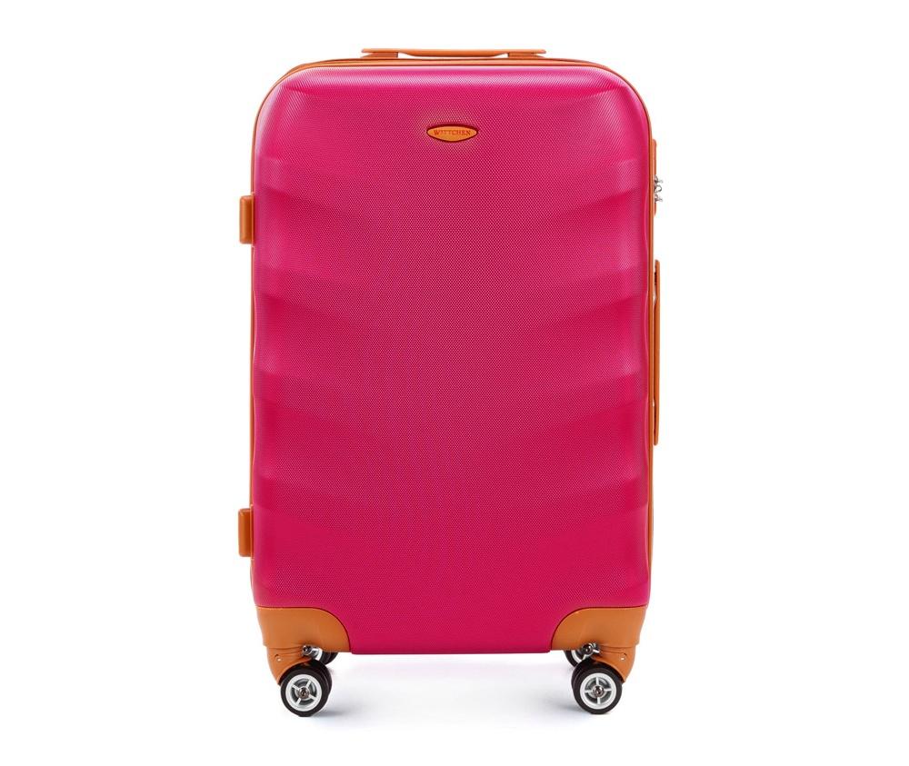 Чемодан на колесикахСредний чемодан из коллекции J-Line, сделан из высокопрочного АБС - пластика. Чемодан имеет 4 двойных колесика, выдвижную ручку с фиксатором, дополнтельную ручку для удобной переноски багажа, кодовый замок. Характерная особенность - логотип Wittchen на верхней ручке багажа.   Внутри: основное отделение с эластичными ремешками и застежкой-молнией; отсек на молнии.<br><br>секс: женщина<br>Цвет: розовый<br>материал:: ABS пластик<br>высота (см):: 67<br>ширина (см):: 45<br>глубина (см):: 25<br>размер:: средний<br>объем (л):: 57<br>вес (кг):: 3.6