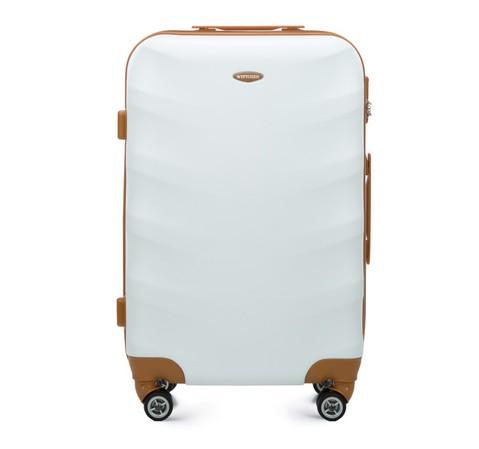 Średnia walizka z ABS-u z brązowymi wstawkami, biały, 56-3A-232-10, Zdjęcie 1