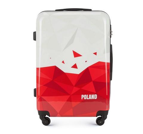 Walizka średnia z ABS-u Poland, biało - czerwony, 56-3A-242-TR, Zdjęcie 1