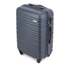 Średnia walizka z ABS-u z żebrowaniem, granatowy, 56-3A-312-91, Zdjęcie 1
