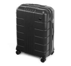 Średnia walizka z polikarbonu żłobiona, czarny, 56-3P-822-10, Zdjęcie 1